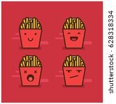 set of french fries line icons... | Shutterstock .eps vector #628318334