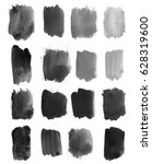 set of dark black watercolor... | Shutterstock . vector #628319600