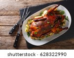 beautiful food  baked whole... | Shutterstock . vector #628322990