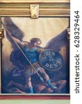 Small photo of ZAGREB, CROATIA - MAY 28: Archangel Michael, altarpiece in the Basilica of the Sacred Heart of Jesus in Zagreb, Croatia on May 28, 2015.