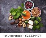 vegan sources of protein.... | Shutterstock . vector #628334474