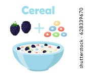 cereal rings  blackberry with... | Shutterstock . vector #628339670