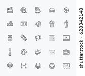 movie theater object line icons ... | Shutterstock .eps vector #628342148