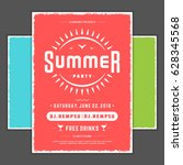 retro summer party design... | Shutterstock .eps vector #628345568