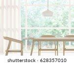 modern white dining room 3d... | Shutterstock . vector #628357010