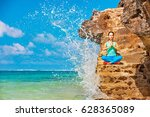 meditation on sea surf with... | Shutterstock . vector #628365089