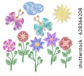 cute elements. quilling. in the ...   Shutterstock .eps vector #628366208