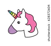 unicorn head white pink | Shutterstock .eps vector #628372604