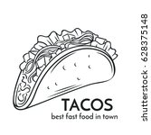 hand drawn tacos icon. vector... | Shutterstock .eps vector #628375148