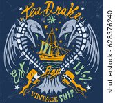 sea drake emblem | Shutterstock .eps vector #628376240