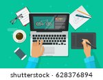 designer workplace vector... | Shutterstock .eps vector #628376894