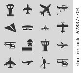 aviation icons set. set of 16... | Shutterstock .eps vector #628377704