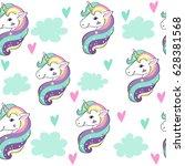 unicorn in the clouds pop art... | Shutterstock .eps vector #628381568