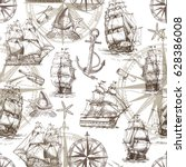 seamless marine pattern in... | Shutterstock .eps vector #628386008