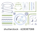 set of hand drawn decorative... | Shutterstock .eps vector #628387088