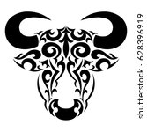 bull head decorated in flat... | Shutterstock .eps vector #628396919