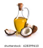 coconuts and coconut oil on a... | Shutterstock . vector #628399610