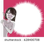 the woman is shocked. with a... | Shutterstock .eps vector #628400708