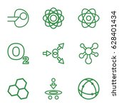 molecular icons set. set of 9... | Shutterstock .eps vector #628401434