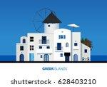 greek islands. view of typical... | Shutterstock .eps vector #628403210