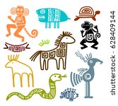 aztec and maya ancient animal... | Shutterstock .eps vector #628409144