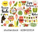 Summer set, hand drawn elements- calligraphy, flowers, tropical leaf, birds, wreaths, and other. Perfect for web, card, poster, cover, tag, invitation, sticker kit. Vector illustration | Shutterstock vector #628410314
