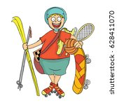 happy boy with sports equipment.... | Shutterstock .eps vector #628411070