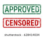 green and red vintage approved... | Shutterstock . vector #628414034