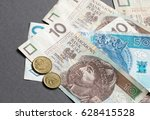 polish zloty banknotes and... | Shutterstock . vector #628415528