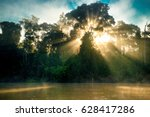 sunrise on river kinabatangan | Shutterstock . vector #628417286