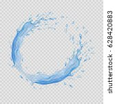 water frame. transparent splash ... | Shutterstock .eps vector #628420883