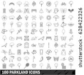 100 parkland icons set in... | Shutterstock .eps vector #628422326