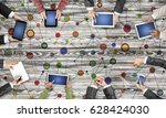 group of people with devices in ... | Shutterstock . vector #628424030