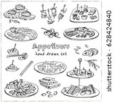 vector set with appetizers hand ... | Shutterstock .eps vector #628424840