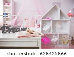 room interior with cozy bed and ... | Shutterstock . vector #628425866