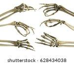 hand skeleton shows fingers 3d... | Shutterstock . vector #628434038