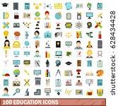100 education flat icons set.... | Shutterstock .eps vector #628434428