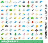 100 aqua icons set in isometric ... | Shutterstock .eps vector #628434518
