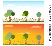 two landscape of flower and... | Shutterstock .eps vector #628435034