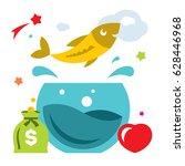 vector goldfish. flat style... | Shutterstock .eps vector #628446968