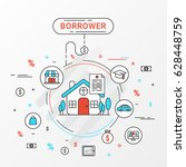borrower info graphics design... | Shutterstock .eps vector #628448759
