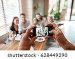 closeup of man taking pictures... | Shutterstock . vector #628449290