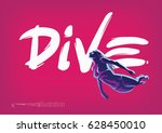 Diving. Hand Drawn Lettering