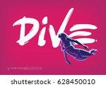 diving. hand drawn lettering | Shutterstock .eps vector #628450010