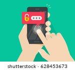 smartphone security unlocked... | Shutterstock .eps vector #628453673