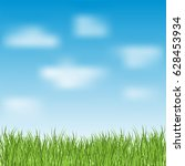 green grass and blue sky with... | Shutterstock .eps vector #628453934