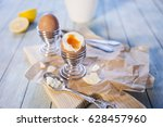 eggs for breakfast with toasted ... | Shutterstock . vector #628457960
