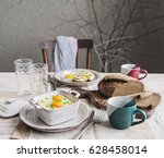 breakfast on the table with... | Shutterstock . vector #628458014