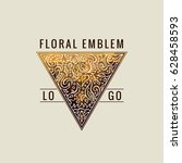 calligraphic triangle logo.... | Shutterstock .eps vector #628458593