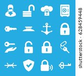 secure icons set. set of 16... | Shutterstock .eps vector #628459448